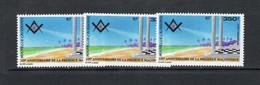 FREEMASONS  - NEW CALEDONIA  - 1994- MASONS GRAND LODGE 350FR X 3  MINT NEVER HINGED ,SG CAT £30 - Freemasonry