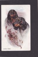 Dog Card - Gordon Setters.   Artist Drawn.  James Henderson. - Perros