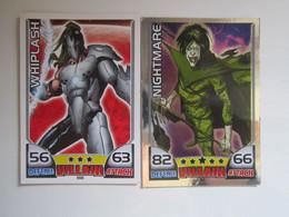 2 Cartes 2011 Topps Marvel Universe HERO ATTAX Villain - WHIPLASH - NIGHTMARE - Marvel