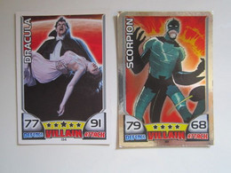 2 Cartes 2011 Topps Marvel Universe HERO ATTAX Villain - DRACULA - SCORPION - Marvel