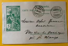 14097 - UPU 5 Ct Vert Ste Croix 9.11.1900 Cachet Arrivée La Chaux Près Ste Croix - Ganzsachen