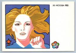 1985 PEACE PROPAGANDA Motto Of The Youth Festival Soviet USSR Postcard - Patrióticos