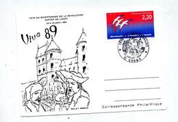 Carte  Cachet Lugny Fete Du Bicentenaire Revolution Theme Chateau - Cachets Commémoratifs