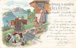 Suisse Lucerne Machines à Coudre Helvetia Fabrique à Lucerne Machine Illustration Cachet 1907 - LU Lucerne