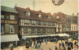 """Old Houses, High Street, Lincoln 1905-""""Note Dress/Hats Etc""""!!(Boots Cash Chemists) - Lincoln"""