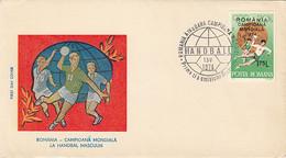 SPORTS, HANDBALL, ROMANIA- WORLD CHAMPION, COVER FDC, 1974, ROMANIA - Balonmano