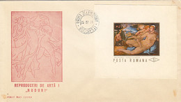 ART, PAINTINGS, NUDES, ART REPRODUCTIONS, COVER FDC, 1971, ROMANIA - Desnudos