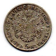 AUSTRIA, 5 Kreuzer, Silver, Year 1838-Α, KM #2196 - Austria