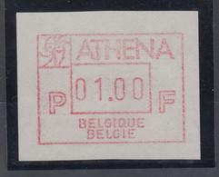 Belgien FRAMA-ATM Sonderausgabe ATHENA (1987) Von VS **  - Postage Labels