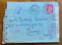 GERMANIA - ENVELOPE FROM LUXEMBOURG  13/10/42  TO FIRENZE - CENSURE TEDESCA E ITALIANA - Covers & Documents