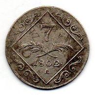 AUSTRIA, 7 Kreuzer, Silver, Year 1802-A, KM #2129 - Austria