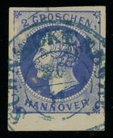 Hannover 1859 2Gr Ultramarine Used With SCHNACKENBURG Postmark In Blue, Sheet Margin At Bottom, Fault-free, MiNr. 15 - Hanover