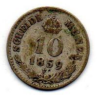 AUSTRIA, 10 Kreuzer, Silver, Year 1859-V, KM #2204 - Austria