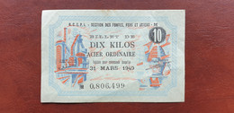 France / Frankreich Notgeld 10 Kilos Acier 10 Kilogramm Eisen 1949  /21.10 - Bonds & Basic Needs