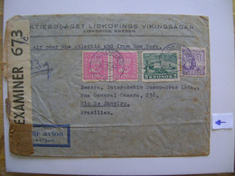 SWEDEN / SVERIGE - LIDKOPING LETTER SENT TO RIO DE JANEIRO (BRAZIL) IN 1942 OPENED BY CENSORSHIP IN THE STATE - Lettres & Documents