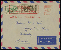 Madagascar 1953 Cover From Tulear To Tananarive, METER + STAMPS FRANKING And Beautiful Red Slogan Postmark Of Tulear - Lettres & Documents