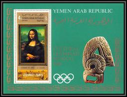 Nord Yemen YAR - 3523/ Bloc N°93 A Da Vinci Mona Lisa Joconde Tableaux Paintings Olympic Games 1968 COTE 22 EUROS - Yemen