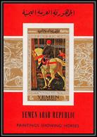 Nord Yemen YAR - 3579 Bloc 73 Chevaux Horse  ** MNH Tableau (Painting) Paolo Ucello 1968 Cote 18 Non Dentelé Imperf - Horses