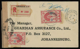 Madagascar 194? Reg. Cover From Tananarive To Johannesburg, South Africa, With Nice Franking Including 10fr (Yv. 277) - Storia Postale