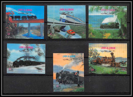 0208/ Umm Al Qiwain N°503/508 Locomotives Modern Train Tgv Timbre 3D Stamp - Umm Al-Qiwain