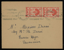Madagascar 1947 Cover Sent Locally Within Tananarive, Franked With 1fr50c Red Pair (Yv. 272), Slogan Postmarks - Storia Postale