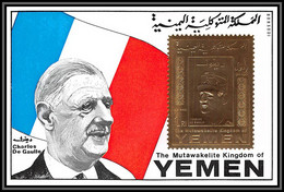 Yemen Royaume (kingdom) - 4174/ Bloc N°223 De Gaulle OR Gold Stamps 1970 Neuf ** MNH - De Gaulle (General)