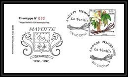5212/ Pegase Tirage Numerote 52/300 Y&t 78 Fleur Flower Vanille Vanilla Mayotte 1999 Fdc Premier Jour Lettre Cover - Storia Postale