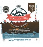 "Czech Republic - Minibrewery In City Decin, Dark Black Beer Kormidelnik ' ""Steersman"", Self-adhesive Label - Birra"
