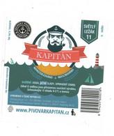 "Czech Republic - Minibrewery In City Decin, Blond Lager Beer Kapitan ( "" Captain"" ), Self-adhesive Label - Birra"