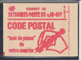 FRANCE CARNET FERME DE 20 TIMBRES BEQUET 0,50 ROUGE NUMEROTE AVEC TIRETS 1664 C10 - Freimarke