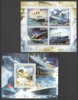 BC638 2011 GUINE GUINEA-BISSAU TRANSPORT SHIPS CENTENARY TRAGEDY TITANIC BL+KB MNH - Ships