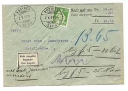 """296 - 12 - Enveloppe Nachnahme Envoyée De Ersigen 1919 - étiquette """"Impayé"""" - Covers & Documents"""