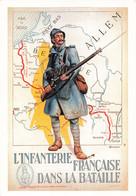 Guerre 1914 1918 L' Infanterie Française Dans La Bataille CPM Reproduction Affiche Carte Geographique Ligne Hindenburg - Guerra 1914-18