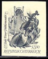 AUSTRIA (1967) Violin. Organ. Laurel. Printer's Proof On Yellow Paper Without Gum As Printed.. Scott No 789 - Probe- Und Nachdrucke