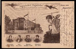BAVARIA (1906) Golfers. Warrior Wielding Spear. 5 Pf Postal Card (O) With Illustration Of Golfers At Bayreuth Festival H - Bayern (Baviera)