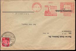 """GERMANY (1035) Zwickau. Red Meter Cancelation On On Envelope"""" 800 Jahre Zwickau. 125 Jahre Robert Schumann."""" - Se-Tenant"""