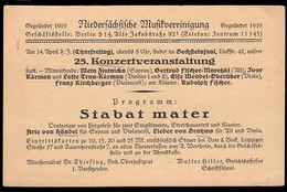 GERMANY (1922) Music Recital. 40 Pf + 5 Pf Postal Card With Printed Notice On Reverse For Program Of Music By Handel - Ganzsachen