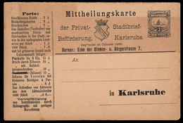 GERMANY (1886) Musical Instruments. 3 Pf Karlsruhe Private Postal Card With Printed Advertising. - Privatpost