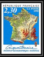 France N°2662 Institut Géographique National Carte De France 1990 Cote 30 Non Dentelé ** MNH (Imperf) - Non Dentellati