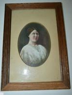 JOLIE PETITE PEINTURE PORTRAIT FEMME 1900 Cadre Bois Sous Verre Collection - Estampas