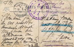 Tampon Ministère De L'Intérieur Section Sanitaire Port Les Valence + Cachet Perlé 1917 Réexpédié Finie En Poste Restante - Guerra Del 1914-18
