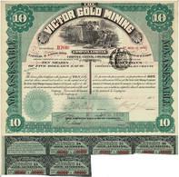 Ancien Titre - The Victor Gold Mining - Cripple Creek, Colorado - Déco - Titre De 1895 - - Mines