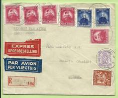 422+748+749 (BELGICA-ANTARCTIS) Op Brief Aangetekend Per EXPRES Per Luchtpost (avion) Met Stempel BRUXELLES 19 (B9416 - Storia Postale