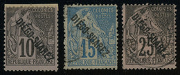 Diego-Suarez 1892 10c MH * Orig. Gum And 15c + 25c Used, All Fault-free Condition, Yv. 17, 19-20, Cat. €100, Uncommon - Gebraucht
