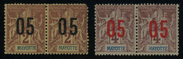 Mayotte 1912 05 On 2c And On 4c CHIFFRES ESPACES SE-TENANT PAIRS MH * Orig. Gum, Some Faults, Yv. 21A-22A - Ungebraucht