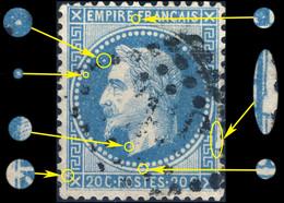 France - Yv.29B 20c Empire Lauré T.2 Position 080B2 (7è état) - Obl. GC - TB - 1863-1870 Napoleon III Gelauwerd