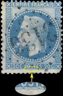France - Yv.29A 20c Empire Lauré T.1 Position 143D1 (1er état) - Obl. GC - Défectueux - 1863-1870 Napoleon III Gelauwerd