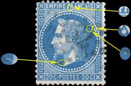 France - Yv.29B 20c Empire Lauré T.2 Position 047A2 (3è état) - Obl. GC - Défectueux - 1863-1870 Napoleon III Gelauwerd