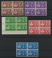 Iran 1939 Royal Wedding Set In BLOCKS OF 4 MNH ** Full Orig. Gum, Perfect Quality, MiNr. 741-745, SC 871-875, Cat. $138+ - Iran