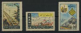 Iran 1957 Teheran-Meched Railway Complete Set Of 3 MNH ** Full Orig. Gum, Fault-free Quality, MiNr. 993-995, Cat. €50 - Iran
